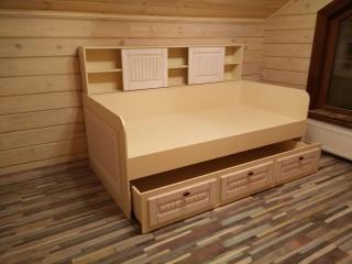 Двухярусная кровать с накладками из МДФ в пленке ПВХ премиум класса.